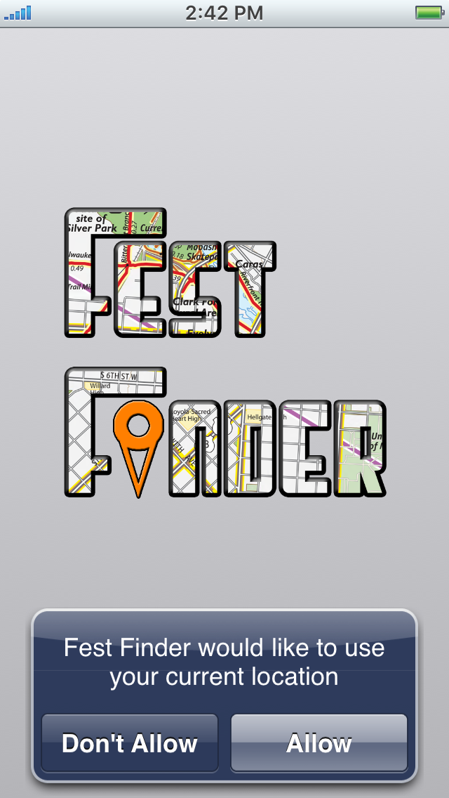 Fest Finder Welcome Screen